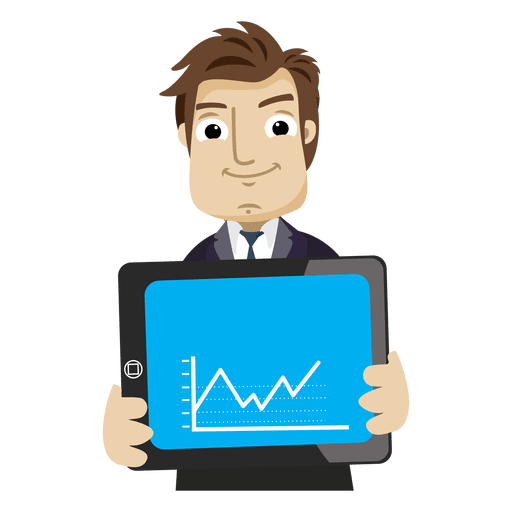 647fb5ade9484f660e49168c15e03cb0-businessman-cartoon-showing-graph-tab-by-vexels