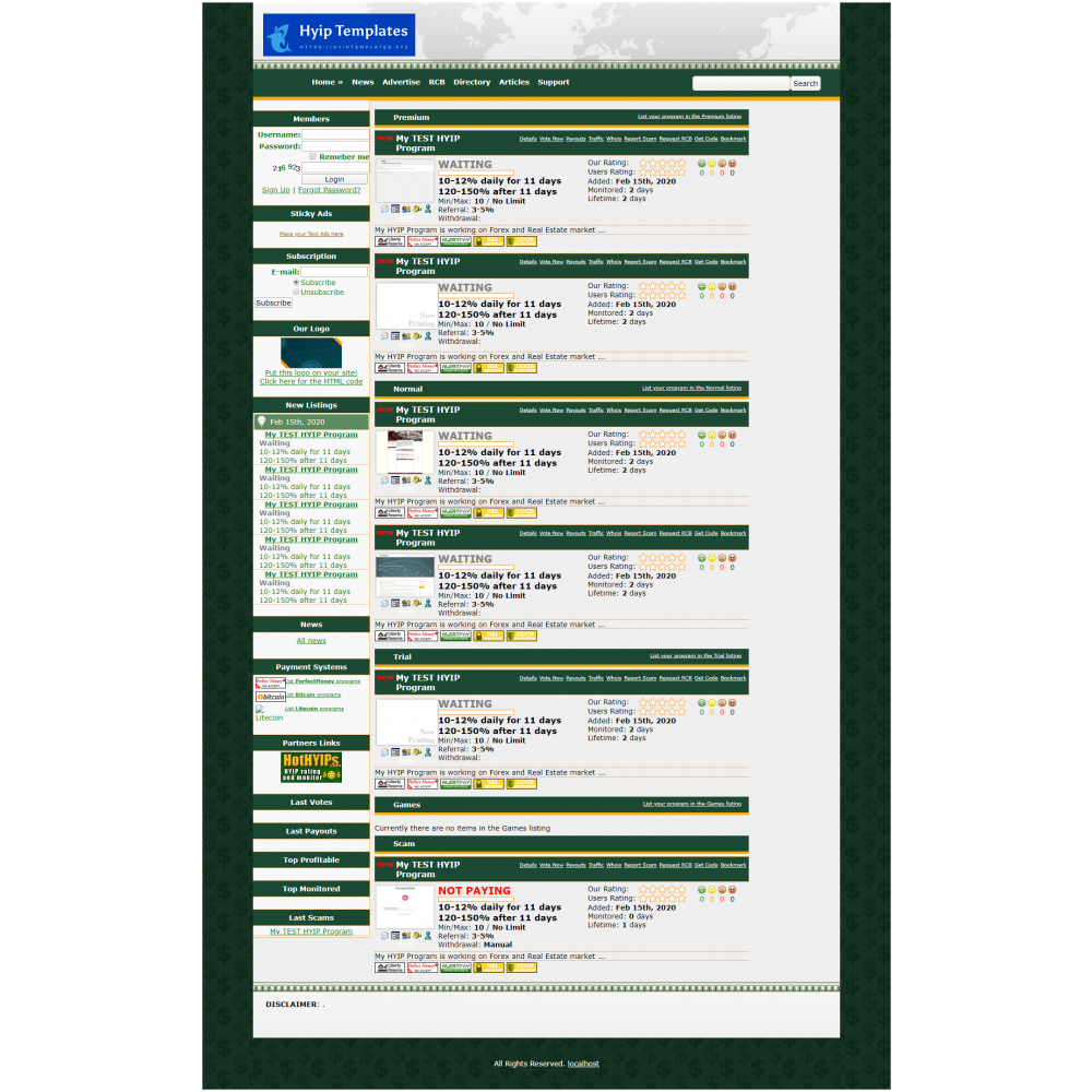 GoldCoders Hyip Lister Template 15